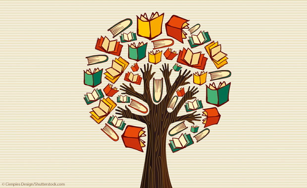 Illustration: Baum aus Büchern