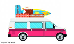 Van and surfboard