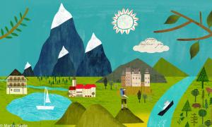 Illustration: Landschaft mi Bergen und Fluss